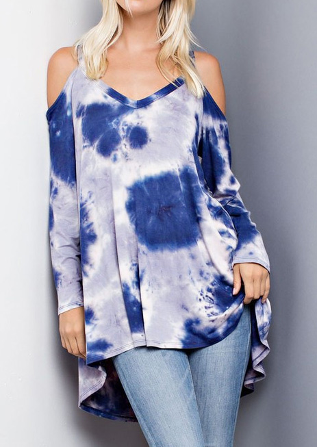 tie dye off shoulder v-neck blouse