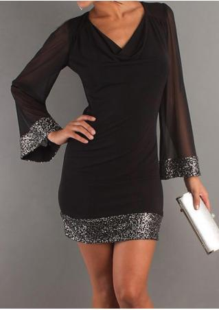 Solid Sequined Splicing Mini Dress