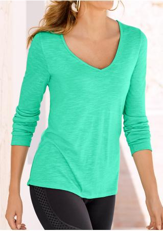 Solid Strappy Back Long Sleeve T-Shirt