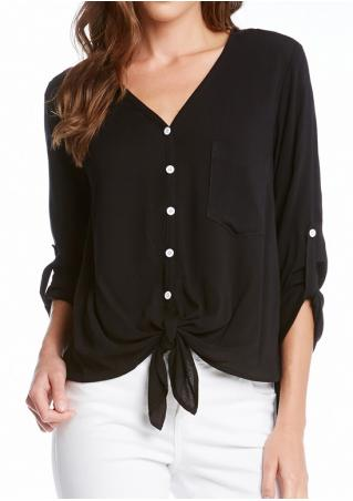 Solid Pocket Tab-Sleeve Blouse