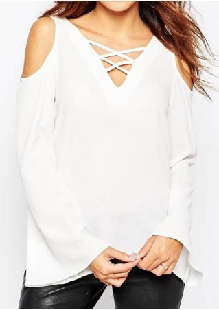 Solid Cross Off Shoulder Blouse