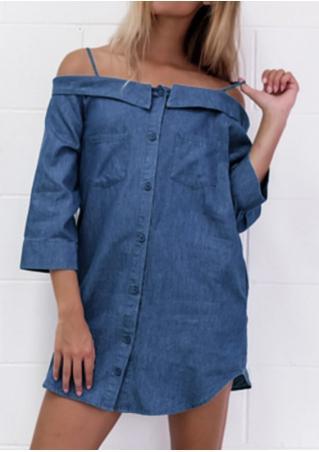 Solid Pocket Off Shoulder Denim Shift Dress