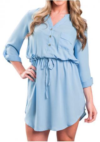 Solid Pocket Tab-Sleeve Drawstring Dress