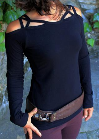 Solid Cross Off Shoulder Blouse Without Belt