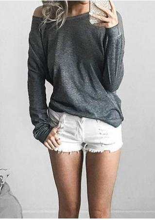 Solid Slash Neck Long Sleeve T-Shirt