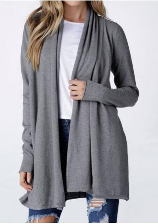 Solid Long Sleeve Loose Cardigan