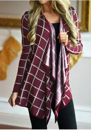 Plaid Long Sleeve Asymmetric Casual Cardigan