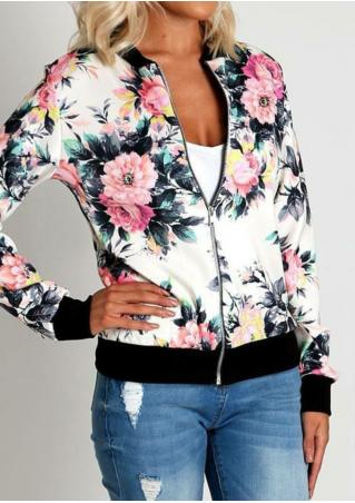 Floral Printed Zipper Jacket