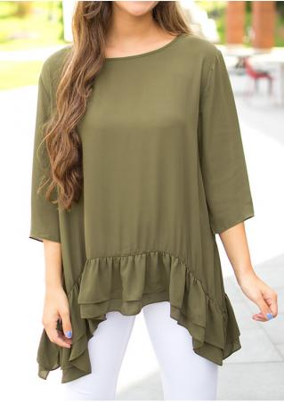 Solid Asymmetric Layered Blouse Without Necklace