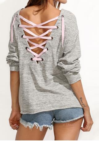 Back Lace Up Long Sleeve Blouse