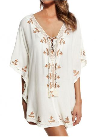 Embroidery Lace Up Cover Up