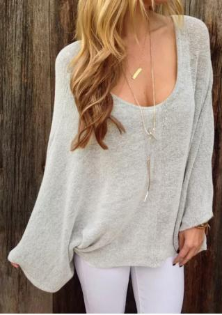 Solid Loose Thin Sweater Without Necklace
