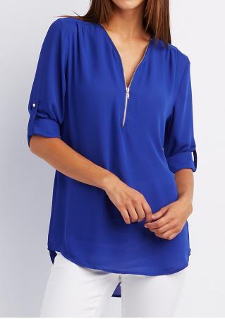 Solid Asymmetric Front Zipper Tab-Sleeve Blouse