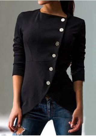 Solid Button Asymmetric Slim Coat