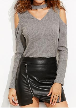 Solid Knitted Off Shoulder Blouse With Choker Detail