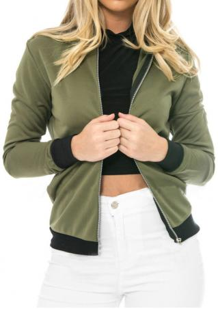 Front Zipper Long Sleeve Jacket