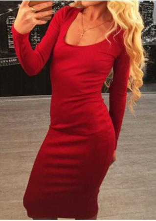 Solid Back Lace Up Bodycon Dress Without Necklace