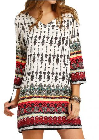 Tribal Printed V-Neck Mini Dress