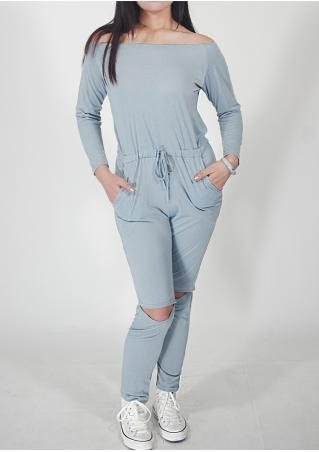 Solid Drawstring Slash Neck Jumpsuit