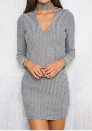 Solid Knitted Bodycon Dress With Choker Detail