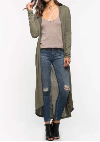 Solid Long Hooded Cardigan Without Necklace