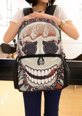 Multicolor Skull Printed Backpack