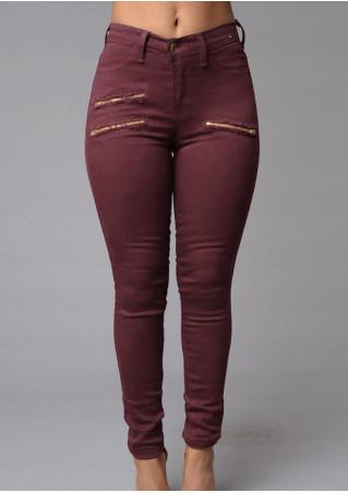 Solid Zipper Skinny Casual Pants