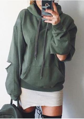 Solid Pullover Hoodie With Slashed Elbows