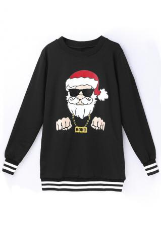 Christmas Santa Claus Printed O-Neck Sweatshirt