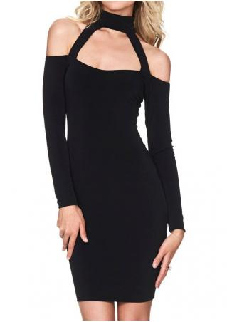 Solid Off Shoulder Dress With Choker Detail