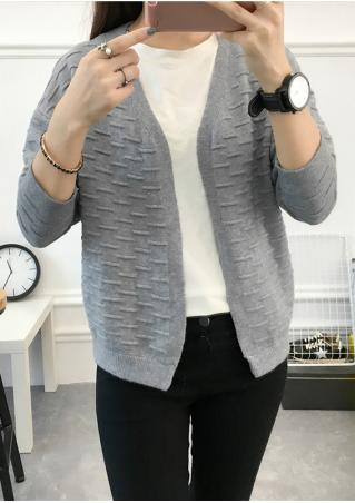 Solid Knitted Cardigan Without Necklace