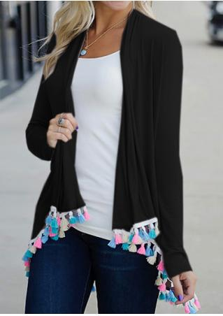 Tassel Splicing Long Sleeve Cardigan Without Necklace