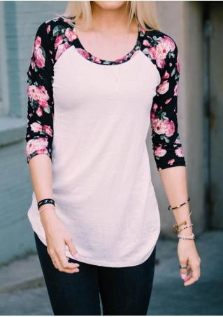 Floral Splicing T-Shirt Without Necklace