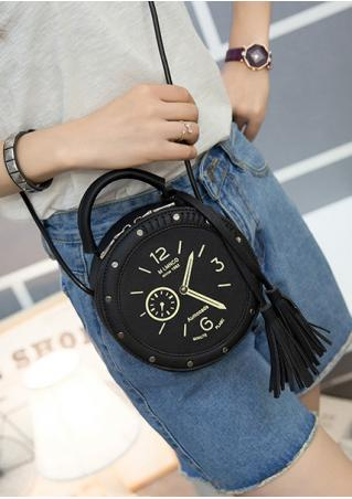 Watch Printed Tassel Zipper PU Leather Bag