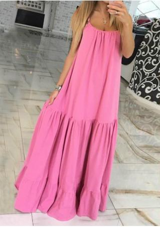 Solid Ruffled Casual Strap Dress