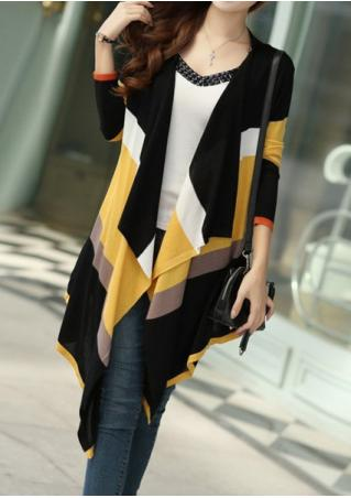Color Block Knitted Asymmetric Cardigan Without Necklace