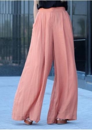 Solid Long Wide Leg Pants