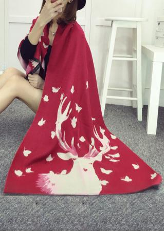 Christmas Reindeer Printed Rectangle Scarf