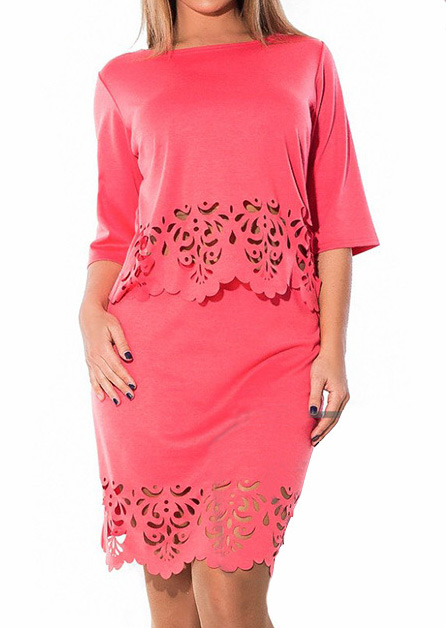 Solid Plus Size Two-Piece Dress