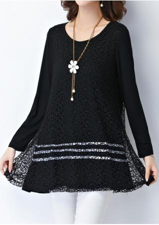 Lace Splicing Blouse Without Necklace