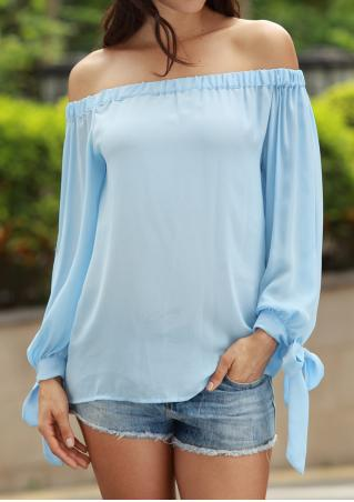 Solid Slash Neck Long Sleeve Fashion Blouse