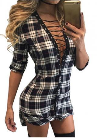 Plaid Lace Up Mini Dress
