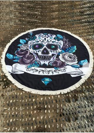 Skull Printed Tassel Round Beach Blanket