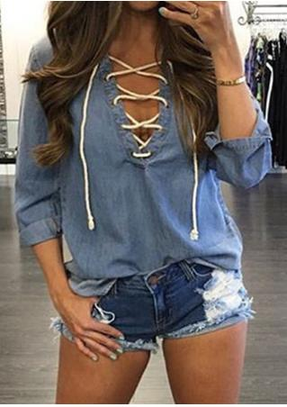 Solid Lace Up Tab-Sleeve Blouse