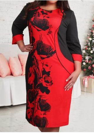 Color Block Floral Splicing Plus Size Dress