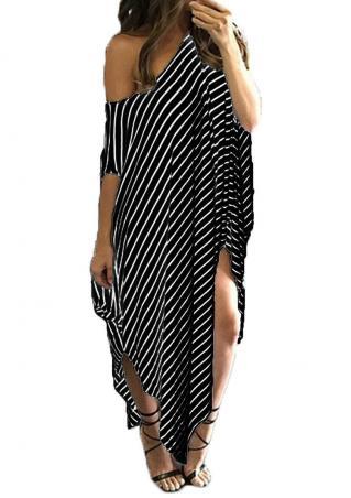 Striped Asymmetric Plus Size Maxi Dress