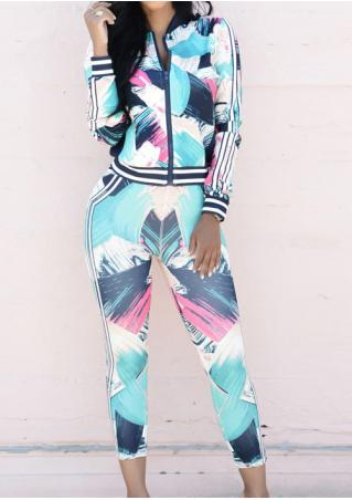 Multicolor Zipper Jacket and Pants Set