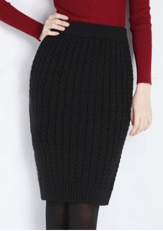 Solid Knitted Pencil Skirt