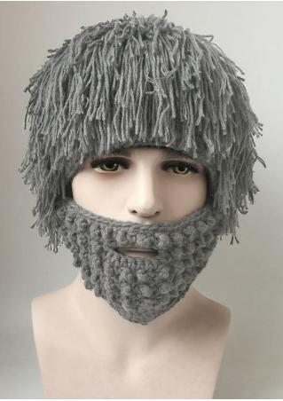 Solid Knitted Wig Hat With Mask For Adult