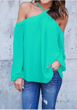 Solid Off Shoulder Long Sleeve Fashion Blouse